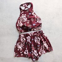 reverse - long weekend floral print halter two piece set - burgundy