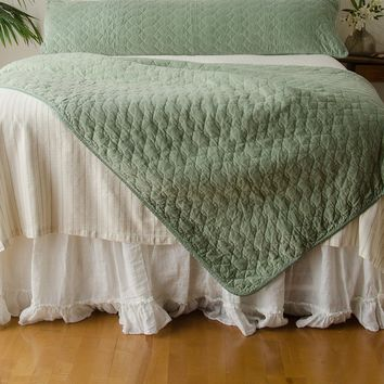Velvet Quilted Large Throw Blanket with Satin Back in THYME
