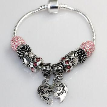 "7.0"" Mother Daughter Charm Bracelet Pandora Style"
