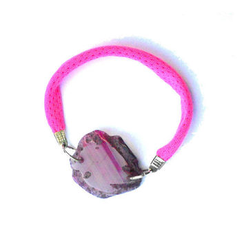 Friendship fabric bracelet with neon pink agate one of a kind - Bfriends collection - FREE SHIPPING