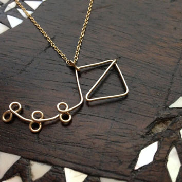 Gold Kappa Alpha Theta Kite Pendant Necklace