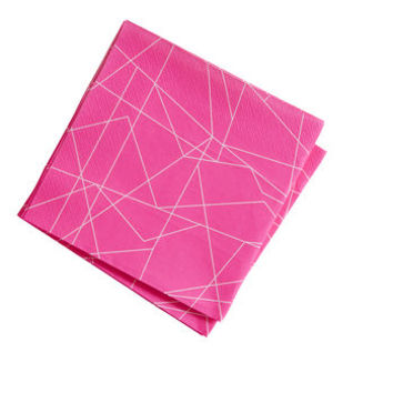 Bright And Bold Neon Pink Geometric Paper Napkins