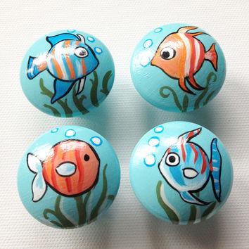 Fishy Hand Painted Drawer Pulls / Dresser Knobs for Kids, Boys, Girls and Nursery Rooms