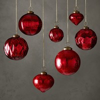 Vintage Handblown Glass Ornament Collection - Red