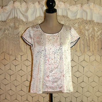 Summer Top Satin Paint Splatter Cap Sleeve Blouse Loose Fit Scoop Neck Satin Blouse Ann Taylor Petite Size 8 Size 10 Medium Womens Clothing