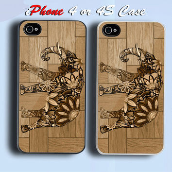 Floral Elephant Wood Custom iPhone 4 or 4S Case Cover