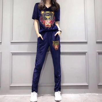 """Kenzo"" Women Casual Fashion Tiger Head Pattern Embroidery V-Neck Short Sleeve Trousers Set Two-Piece Sportswear"