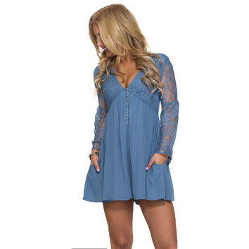 First Love Romper In Blue