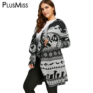 PlusMiss Plus Size 5XL Halloween Skull Print Knitted Cardigan Women Autumn Long Loose Sweater Collarless Outwear Coat Large Size