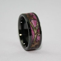 Camo Ring - Black Wedding Band - Pink Leafy Camo Wedding Ring - Ceramic GREAT for Electricians!