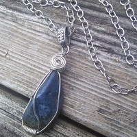 Dumortierite Necklace,Blue Crystal Pendant,Gemstone Necklace,Boho Necklace, Gypsy jewelry,wiccan pagan, Third Eye Chakra, Healing Crystals