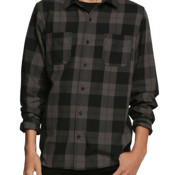RUDE Black Grey Plaid Woven
