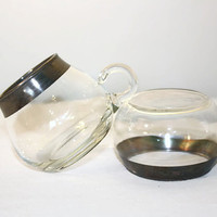 Roly Poly Sugar Bowl and Creamer, Silver Rimmed Clear Glass Serving Pieces, Mid Century Modern