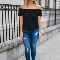 Springtime Tulips Top - Black