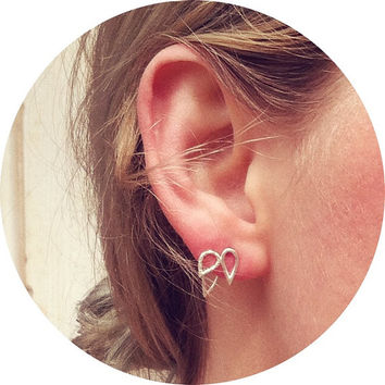 Leaf Ear Jacket & Tiny Double Leaf Studs Combo - Sterling Silver - Set of Studs and Jackets - Front Back Earring Set