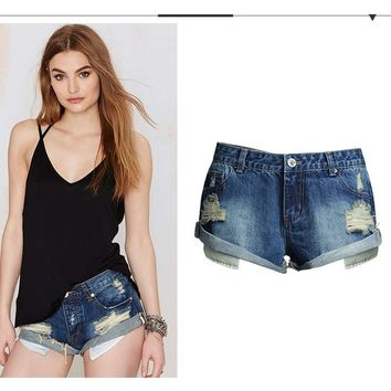 Low-Waist Jeans Scratched Short Preppy Stretchable Loose Denim Hole Shorts