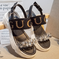 GUCCI 2018 new wild rhinestone sandals thick bottom sponge cake letters casual sandals F0502-1 black