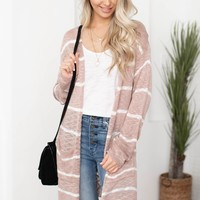 Mercy Pocketed Side Slit Striped Cardigan | Mauve