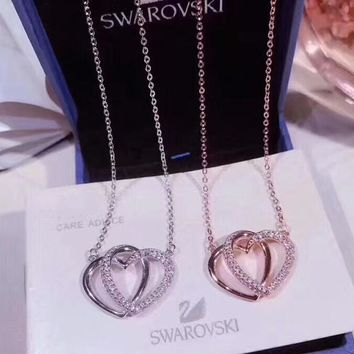 Swarovski New fashion love heart diamond women sterling silver necklace