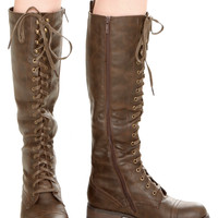 Wanted Brown Lace-Up Knee-High Combat Boots