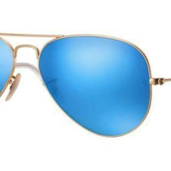 UCANUJ3V Ray Ban Aviator Sunglasses Matte Gold with Flash Mirror Lenses RB3025