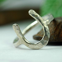 Silver Horseshoe Ring Silver Ring Lucky Charm by thebeadgirl