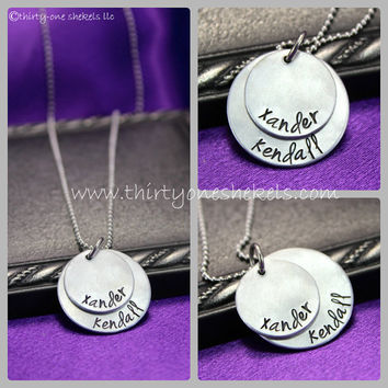Double Layer Mother's Necklace - Two discs, hand stamped and personalized with names just for you