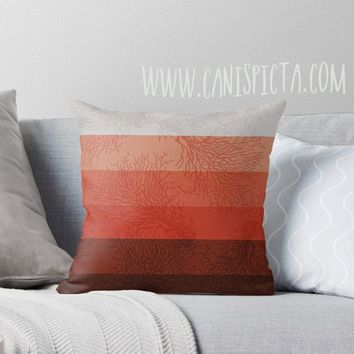 Coral & Concrete OMBRE Throw Pillow 16x16 Graphic Reef Living Print Cover Ocean Couch Home Decor Geometric Pattern Print Orange Red Nautical