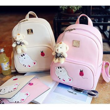 New fashion cat backpack bags for girls mochilas escolares PU leather backpack for women back pack cute book bags girl backpacks