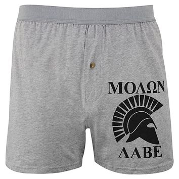 Molon Labe Greek Spartan Helmet Soft Knit Boxer