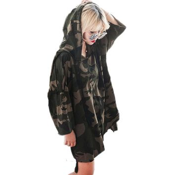 2018 Autumn Camouflage Hoodies Dress Tracksuit For Women Pullovers Hoody Sweatshirts Warm Feminino Winter Camisolas