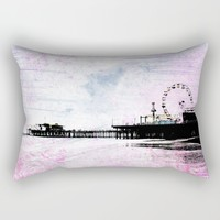 Santa Monica Pier Pink Grunge Rectangular Pillow by Christine Aka Stine1
