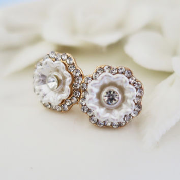 Sea Shell Cubic Zirconia Earrings, Flower Crystal Earrings | LaLaMooD