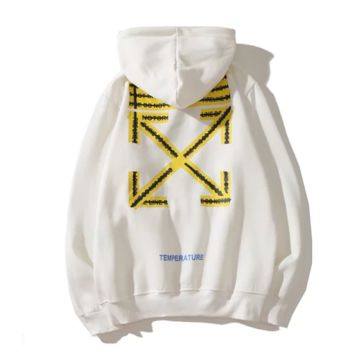Off White New fashion letter arrow print hooded long sleeve sweater White