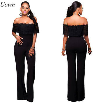 Uown Jumpsuit Romper Summer Sexy Women Off the Shoulder Trousers Long Pants Overall macacao feminino Lace Lady Jumpsuit Elegant