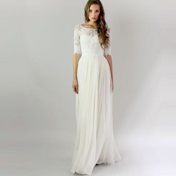 Vintage Long Beach Wedding Dresses With Half Sleeves 2016 Bohemian Lace Boho Wedding Dress Buttons Wedding Gown robe de mariage