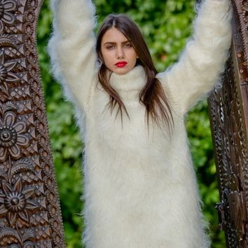 Fluffy Mohair Sweater, Hand Knitted Jumper  T21