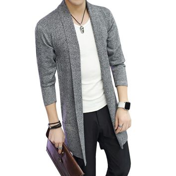 Hot Casual Md-Long Long Sleeve Knitted Cardigan Men's Solid Color Coat Slim Fit Outwear