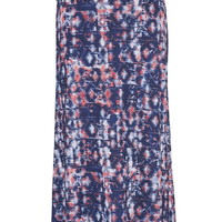 Plus Size - Multicolor Patterned Maxi Skirt - Blue Jasmine Combo