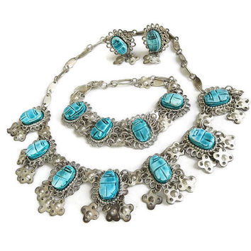 Vintage Egyptian Revival Faience Scarab and Bib Collar Necklace Bracelet & Earrings Demi Parure Set