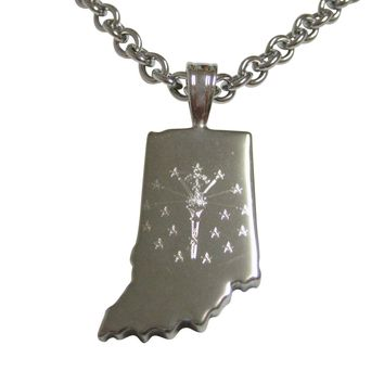 Indiana State Map Shape and Flag Design Pendant Necklace