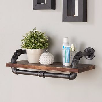 "24"" Isadore Industrial Pine Wood Floating Wall Shelf in Gray and Walnut-Armen Living"