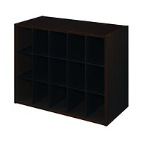 15-Pair Shoe Rack Closet Cubby Organizer Shelves in Espresso Wood Finish