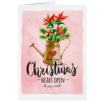 Watercolor Christmas Card With Poinsettias