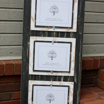 Triple 8x10 Picture Frame - Distressed Wood - Double Mats - Holds 3-8x10 Pictures - Black and White