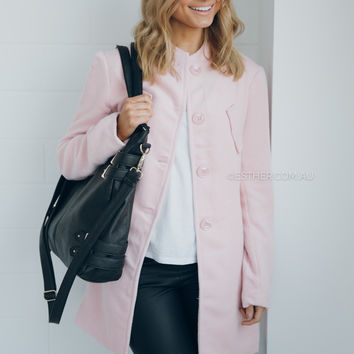 shilla harmony hight neck coat -pink