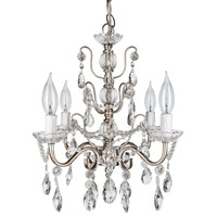 4 Light Shabby Chic Crystal Plug-In Chandelier (Silver)