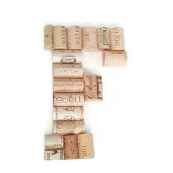 Wine cork letter F | monogram letter | wine cork crafts | wine cork letters | wine cork holder