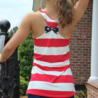 2016 Stripes Printed Polka Dot Top Women Tank Vest Shirt T-shirt _ 8946