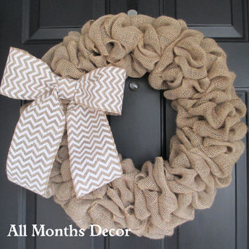 Natural Burlap Wreath with Chevron Burlap Bow, Rustic, Country Decor, Spring Easter Fall Winter, Year Round, Fall, Porch Door